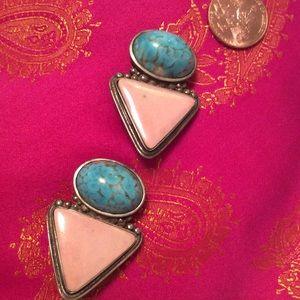 Native Am vtg Earrings Turq/Valentine Stone/Clip